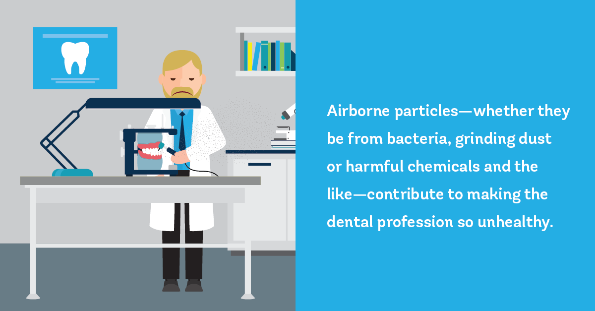 Airborne particles—whether they be from bacteria, grinding dust or harmful chemicals and the like—contribute to making the dental profession so unhealthy