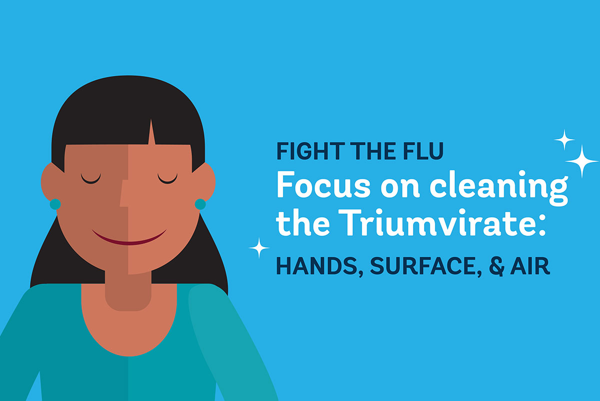 So, how do you combat the flu in your facility? Focus on cleaning the Triumvirate: Hands, Surfaces and Air.